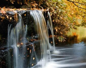 "Autumn waterfall photographic card - 5x7"" frameable"