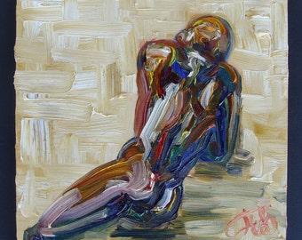 """Figure 25, 8"""" x 8"""", oil on panel"""