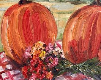 """Autumn Arrangement, oil panel, 6"""" x 6"""""""
