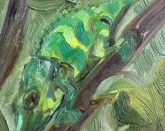 "Chameleon at Zoo Atlanta, 4"" x 4"", oil on panel"