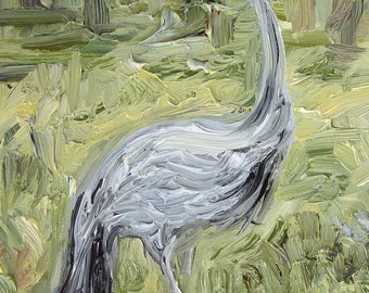 "Blue Crane at Zoo Atlanta, 7""x5"", oil on panel"