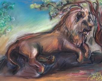 "Lion, pastel on panel, 4"" x 6"""