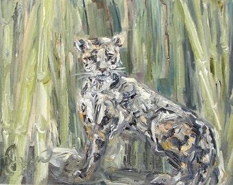 "Suhana - Clouded Leopard at Zoo Atlanta, 9"" x 12"", oil on panel"
