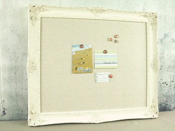 Framed magnetic board shabby chic board bulletin board | Etsy