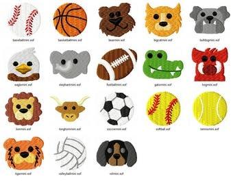 "1"" Set of 18 mini sports and mascot machine embroidery designs bundle"