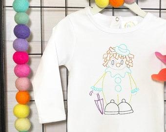 Circus Clown vintage stitch machine embroidery design
