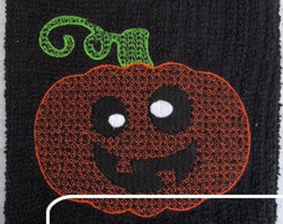 Silly Pumpkin Motif Filled Embroidery Design - Pumpkin Embroidery Design - Halloween Embroidery Design - Jackolantern Embroidery Design
