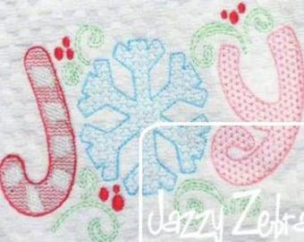 Joy word Christmas motif filled machine embroidery design