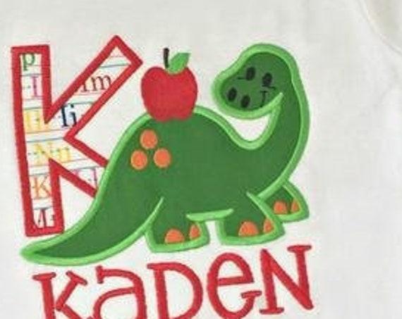 Dinosaur with Apple 105 Appliqué Embroidery Design - dinosaur appliqué design - dino appliqué design - school appliqué design