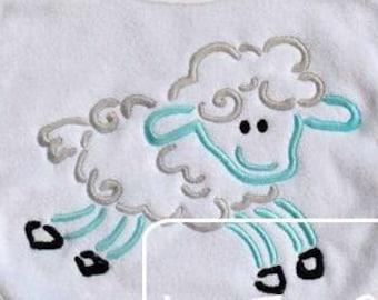 Lamb Satin Stitch Outline Embroidery Design - Sheep Satin Stitch Outline Embroidery Design - sheep Embroidery Design - lamb Embroidery