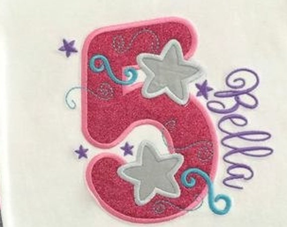 Five Stars Appliqué Embroidery Design - 5th birthday appliqué design - fifth birthday appliqué design - birthday appliqué - star appliqué
