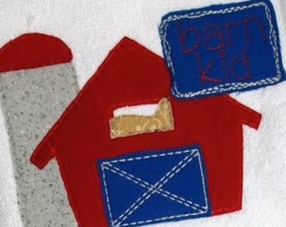 Barn Kid Shabby Chic Applique embroidery design - barn appliqué design - shabby chic appliqué design - farm appliqué design - silo appliqué