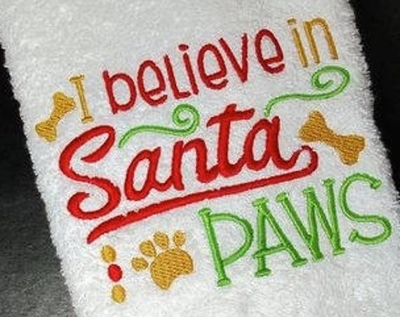 I believe in Santa Paws saying Christmas embroidery design - Santa embroidery design - Christmas embroidery design - Saying embroidery