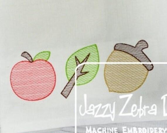 Fall trio 1 sketch embroidery design - leaf embroidery design - apple embroidery design - acorn embroidery design - sketch embroidery design