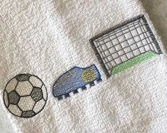 Trio Soccer Sketch Machine Embroidery Design