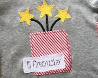 Lil Firecracker saying patriotic fire cracker shabby chic bean stitch appliqué machine embroidery design