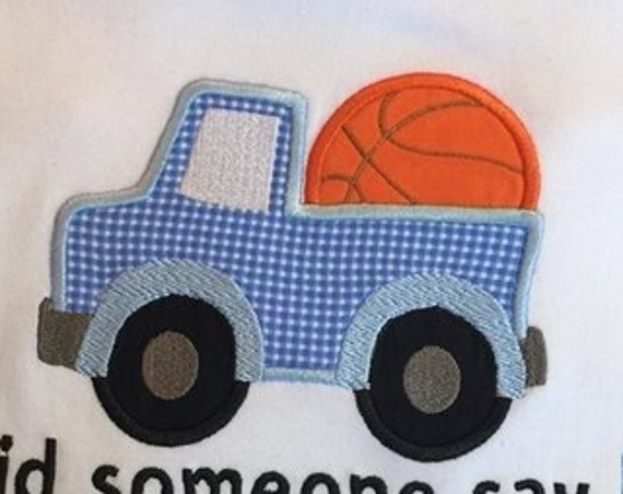 Truck with Basketball Appliqué Embroidery Design - basketball appliqué design - truck appliqué design - boy appliqué design