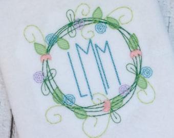Flower wreath frame embroidery design - flower embroidery design - wreath embroidery design - monogram frame embroidery design