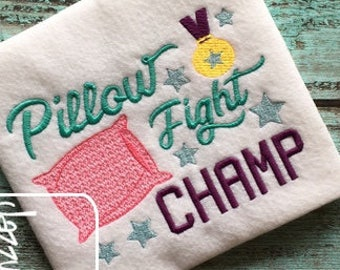 Pillow Fight Champ saying embroidery design - sleepover embroidery design - 1st sleepover embroidery design - girl embroidery design - boy