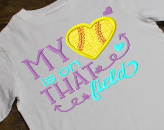 My softball heart is on that field saying appliqué embroidery design - softball appliqué design - heart appliqué design - mom appliqué