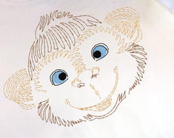 Monkey Face color work embroidery design - Monkey embroidery design - safari embroidery design - zoo embroidery design - vintage stitch