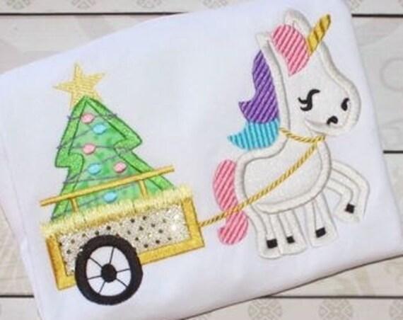 Unicorn pulling cart with Christmas tree appliqué embroidery design - unicorn appliqué design - Christmas appliqué design - girl appliqué
