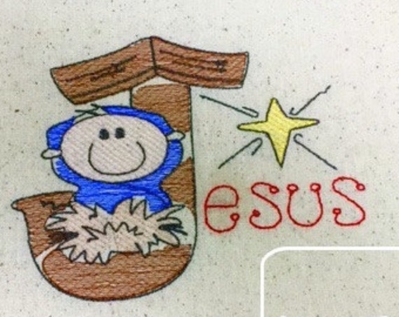 Jesus Word Sketch Embroidery Design - baby Sketch Embroidery Design - nativity Sketch Embroidery Design - manger Sketch Embroidery Design