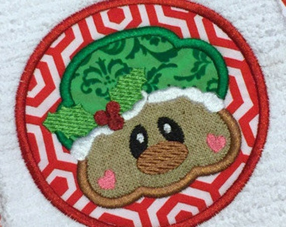 Gingerbread girl round Applique Embroidery Design - gingerbread woman appliqué design - Christmas Applique Design - ginger bread woman