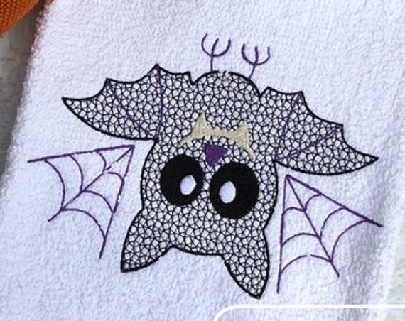 Hanging Bat motif filled embroidery design - Halloween embroidery design - bat embroidery design - motif embroidery design - hanging bat