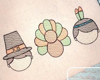 Thanksgiving Boy trio pilgrim, indian and turkey sketch machine embroidery design