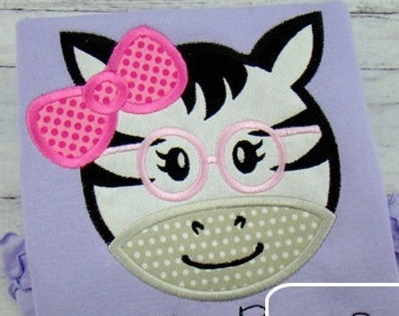 Girl Zebra Face wearing Glasses Appliqué embroidery Design - zebra Appliqué Design - girl Appliqué Design - zoo Appliqué Design - safari