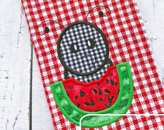 Ant boy eating watermelon appliqué embroidery design - ant appliqué design - watermelon appliqué design - boy appliqué design - summer