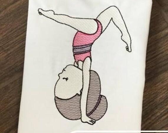 Hand stand gymnastics girl sketch embroidery design - gymnastics embroidery design - sketch embroidery design - girl embroidery design