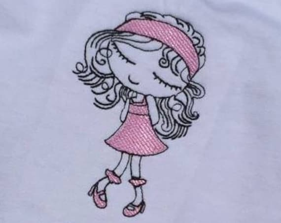 Swirly girl 1 sketch embroidery design - girl embroidery design - sketch embroidery design - vintage stitch embroidery - girl embroidery