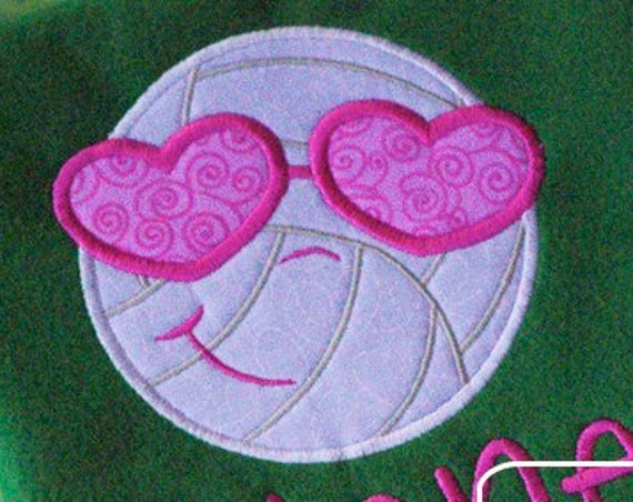 Volleyball Sunglasses Applique embroidery Design - volley ball appliqué design - girl appliqué design - volleyball appliqué design
