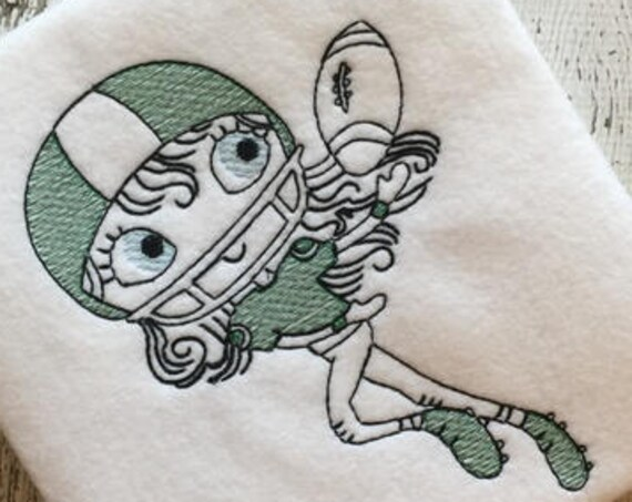 Swirly girl football player sketch embroidery design - football embroidery design - sport embroidery design - girl embroidery design -school