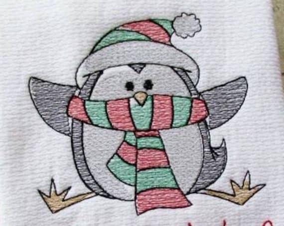 Penguin 94 Sketch Embroidery Design - penguin Sketch Embroidery Design - winter Sketch Embroidery Design