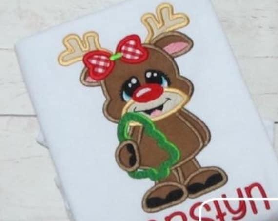 Reindeer Girl with Cookie Cutter Appliqué embroidery Design - reindeer Appliqué Design - girl Appliqué Design - Christmas Applique Design