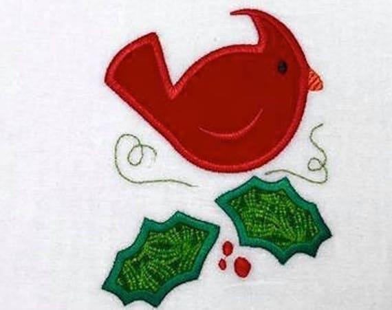 Cardinal bird with Holly leaf appliqué embroidery design - bird appliqué design - Christmas appliqué design - cardinal appliqué design