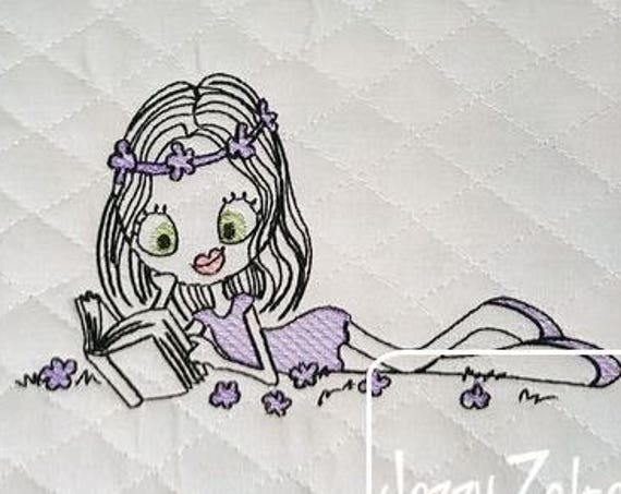Swirly girl reading 4 sketch embroidery design - reading embroidery design - girl embroidery design - sketch embroidery design - books