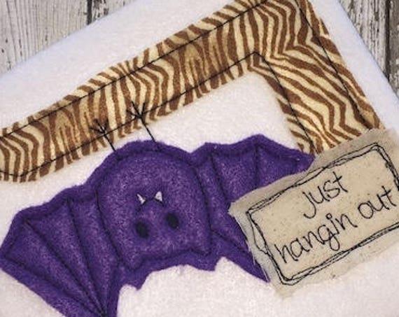 Just Hangin Out Bat Shabby Chic Appliqué embroidery design - bat appliqué design - Halloween appliqué design - Fall appliqué design