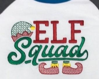 Elf Squad Saying Christmas machine embroidery design