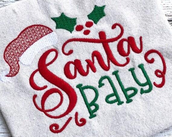 Santa Baby Christmas saying embroidery design - Christmas embroidery design - Santa embroidery design - Santa Baby embroidery design