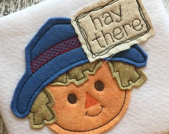 Hay there scarecrow boy shabby chic applique embroidery design - scarecrow appliqué design - fall appliqué design - Thanksgiving appliqué