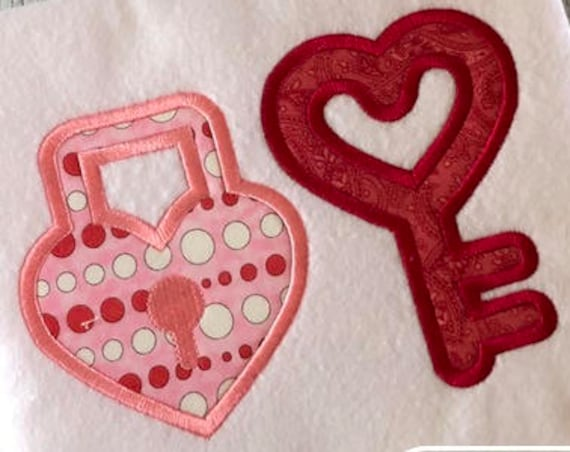 Lock and Key Valentines day appliqué embroidery design - lock appliqué design - Valentines day appliqué design - heart appliqué design