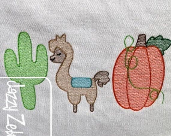 Cactus, Llama And Pumpkin Trio Sketch Embroidery Design - Cactus Embroidery Design - Llama Embroidery Design - Pumpkin Embroidery Design