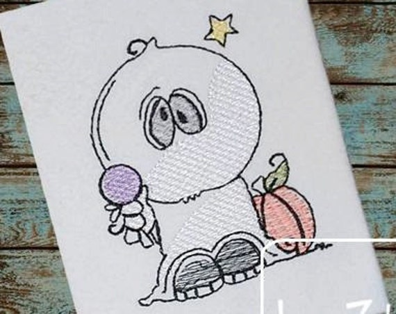 Halloween Ghost with Candy Sketch Embroidery Design - Halloween Sketch Embroidery Design - ghost Sketch Embroidery Design