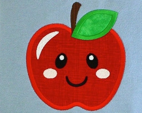 Apple with Face 104 Appliqué embroidery Design - apple appliqué design - fruit appliqué design - school appliqué design - teacher appliqué
