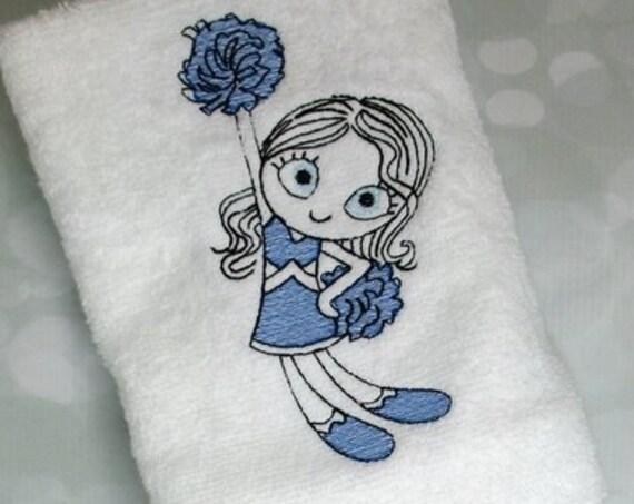 Swirly girl cheerleader 1 sketch embroidery design - girl embroidery design - cheer embroidery design - cheerleader embroidery design