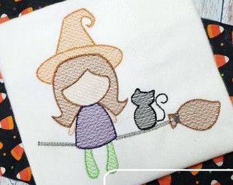 Witch on broom with cat sketch machine embroidery design